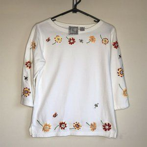 Michael Simon Lite Embroidered Flower Floral Bee